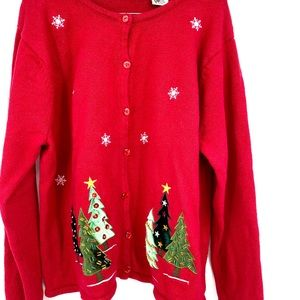 Vintage ugly Christmas sweater embroidered cardi